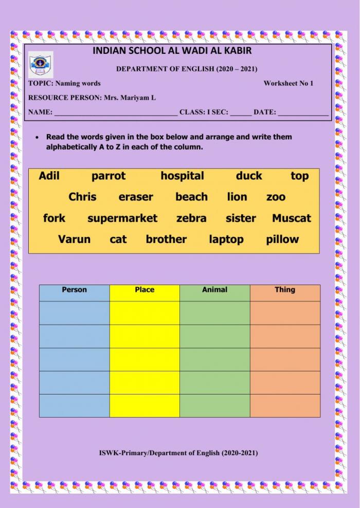 Naming Words Online Worksheet