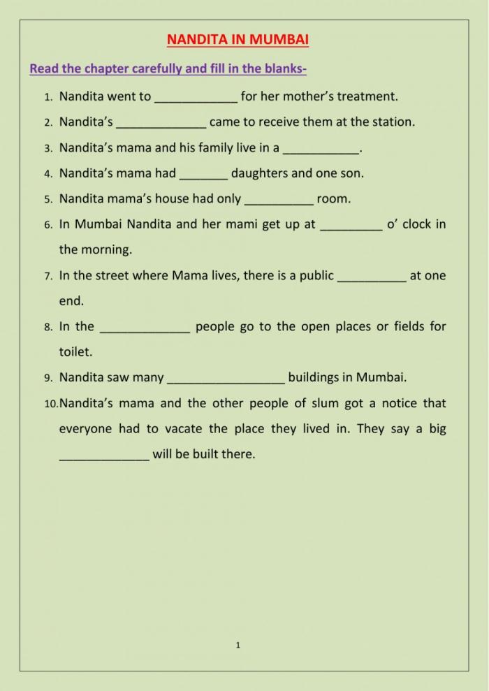 Nandita In Mumbao Worksheet