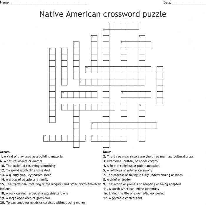 Native American Crossword Puzzle