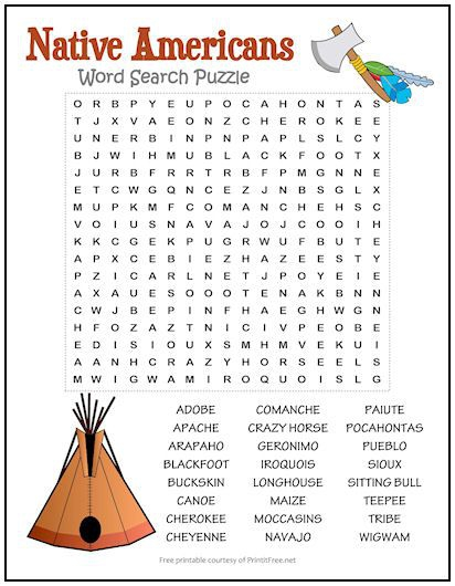 Native Americans Word Search Puzzle