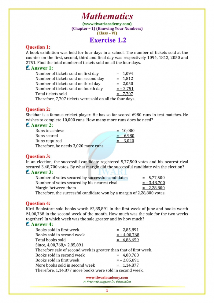 Ncert Solutions For Class Maths Chapter Knowing Our Numbers