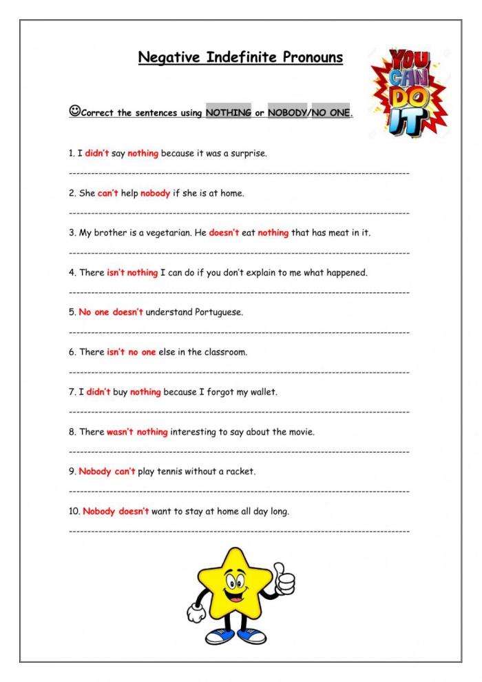 Negative Indefinite Pronouns Worksheet