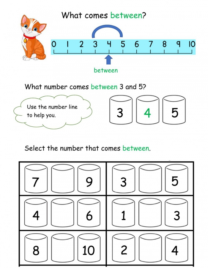 Number Between Worksheet