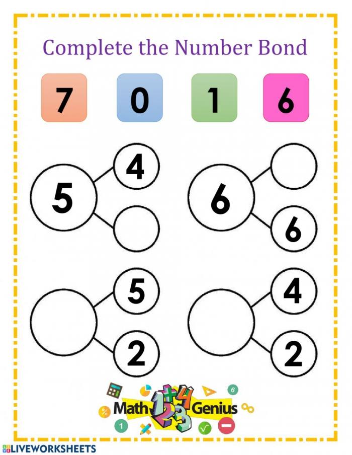 Number Bonds And Worksheet