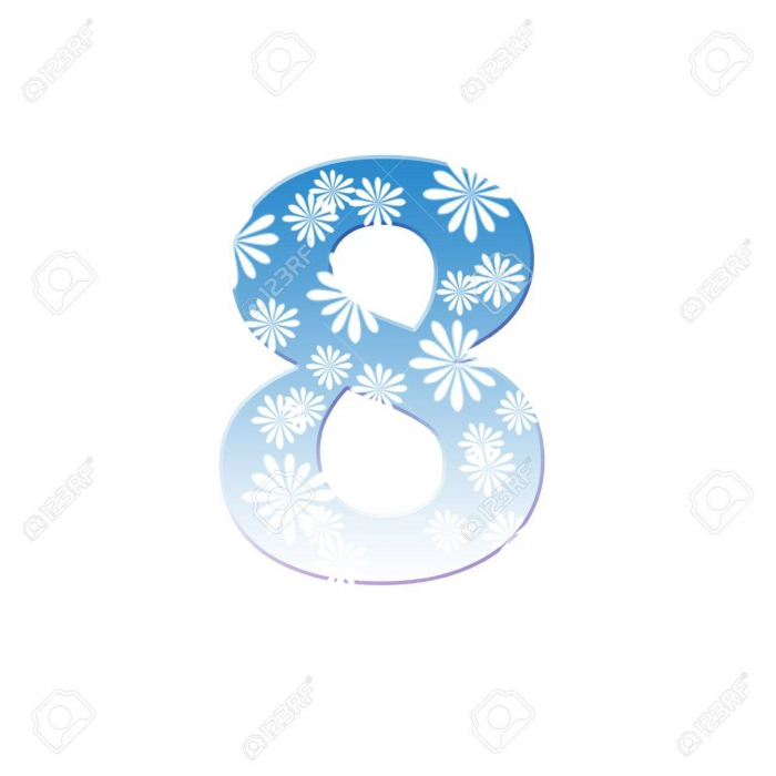Number Eight Made From White Flower On Blue Color Stock Photo