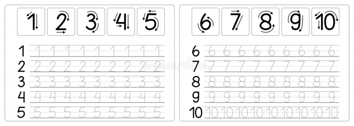 Number Tracing And Writing Worksheets Stock Vector