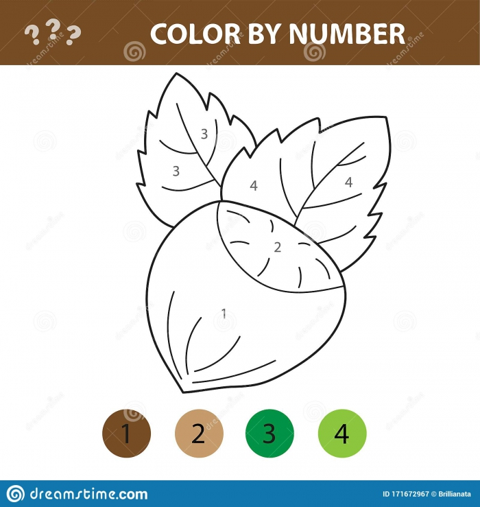 Numbers Coloring Page Cute Cartoon Nut Educational Game For
