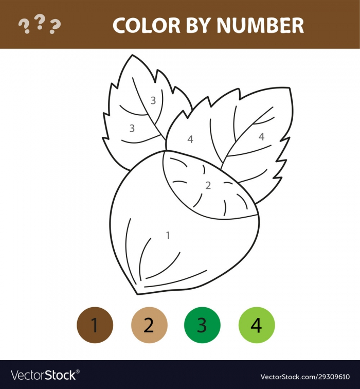 Numbers Coloring Page Cute Cartoon Nut Royalty Free Vector