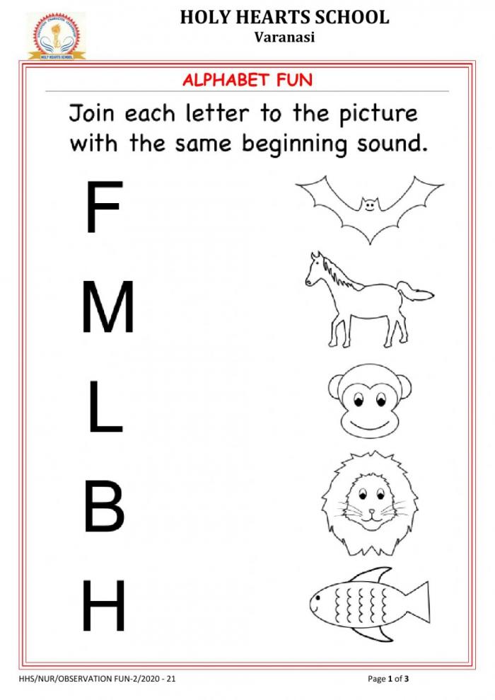 Nursery Alphabet Sounds Worksheet