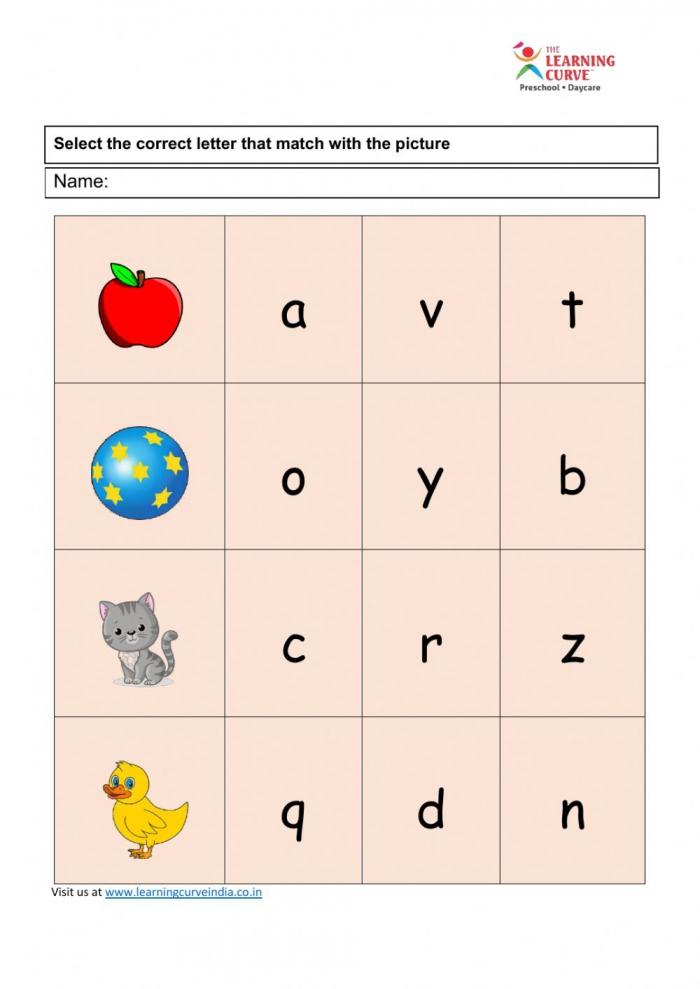 Nursery English Worksheet Final Worksheet