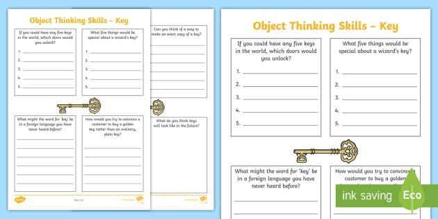Object Thinking Skills Key Worksheet Worksheet