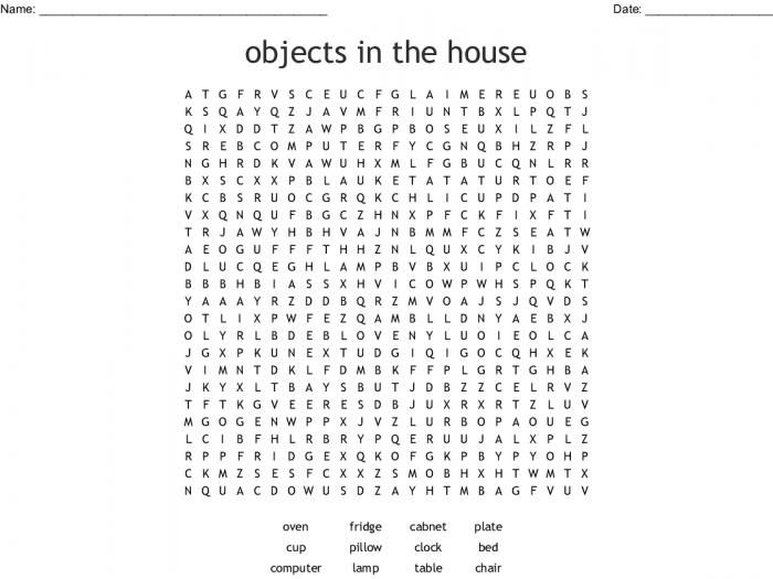 Objects In The House Word Search