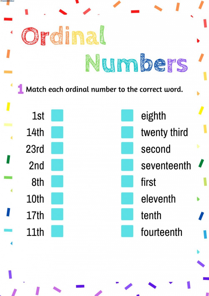 Ordinal Numbers Free Online Exercise