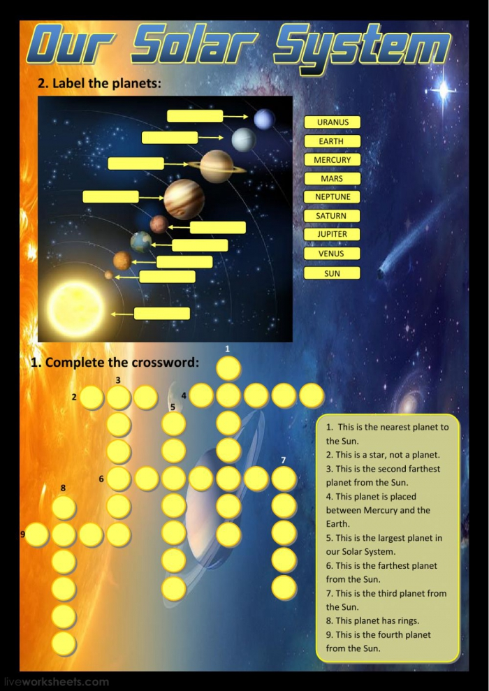 Our Solar System Worksheet