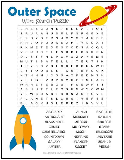 Outer Space Word Search Puzzle