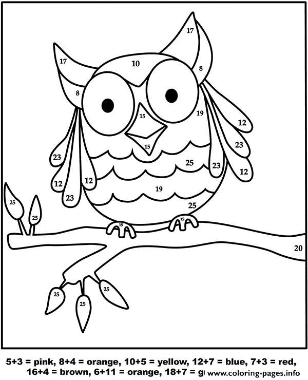 Owl Color By Number Coloring Pages Printable