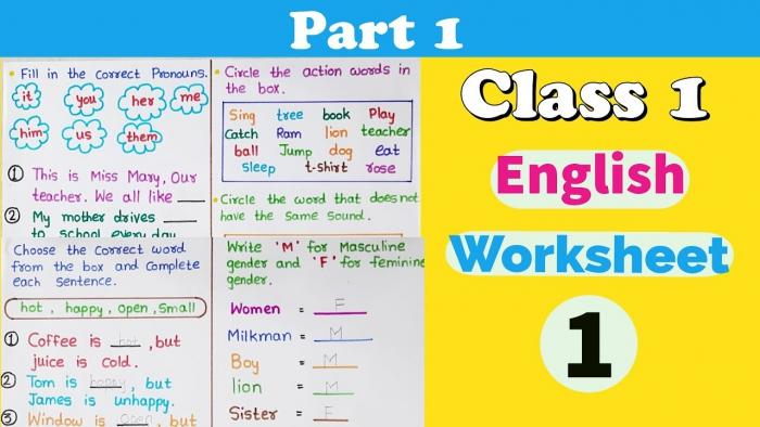 Part Class English Worksheet Grade English Worksheets