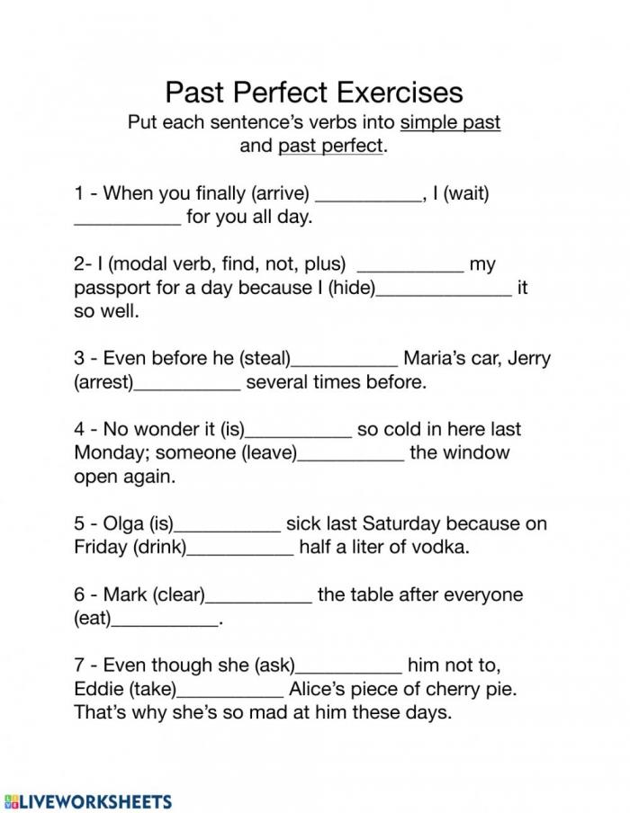 Past Perfect Tense Worksheet Worksheet