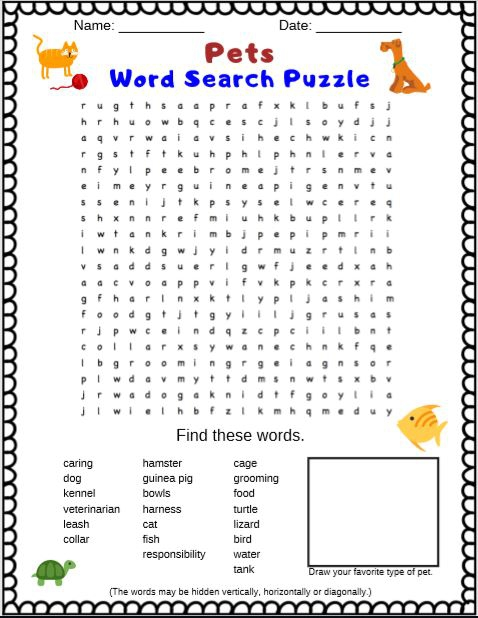 Pets Word Search Puzzle Free Printable Pdf For Kids