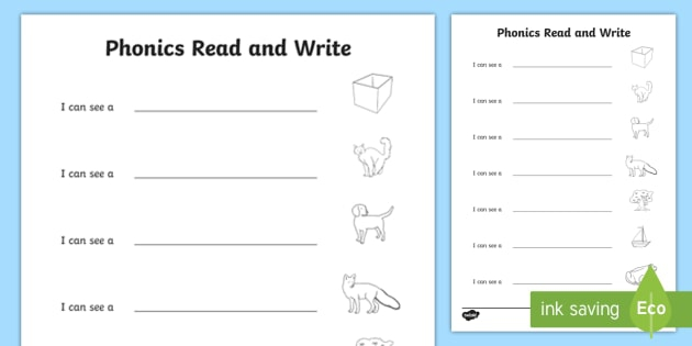Phonics Read And Write Worksheet