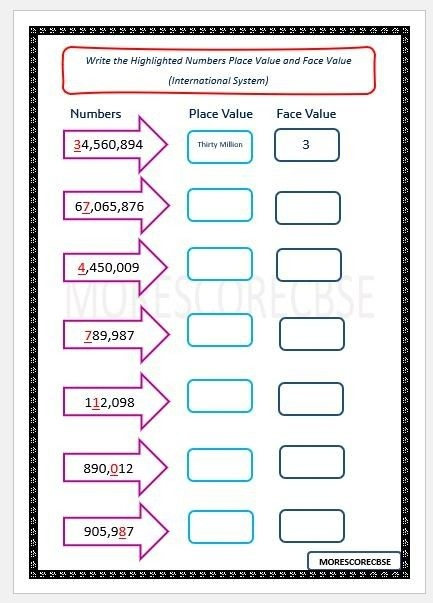 Place Value Whats The Value Worksheets