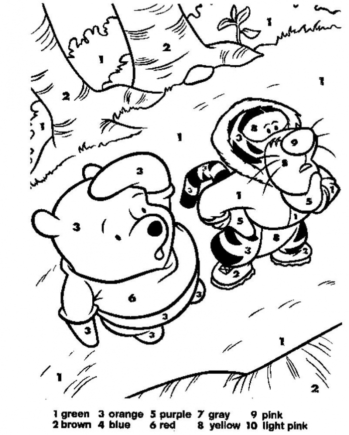 Pooh Bear And Tigger Need Some Color Follow The Numbers And Watch
