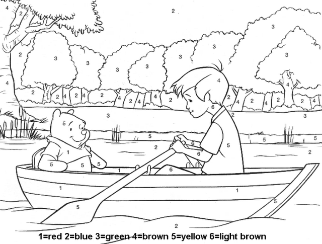 Pooh Coloring Page Color By Numbers Avec Images