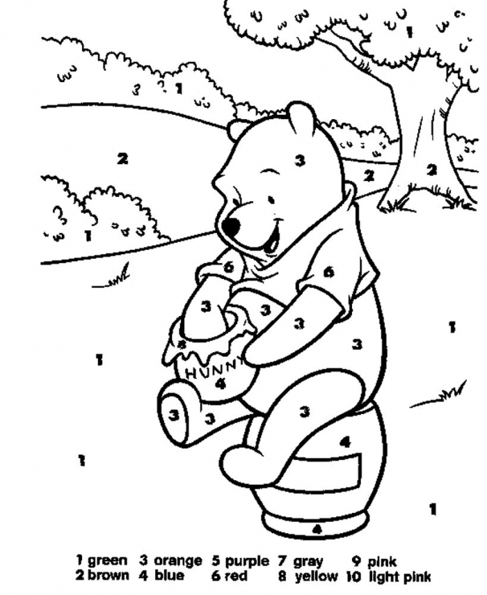 Pooh With Hunny Coloring By Numbers