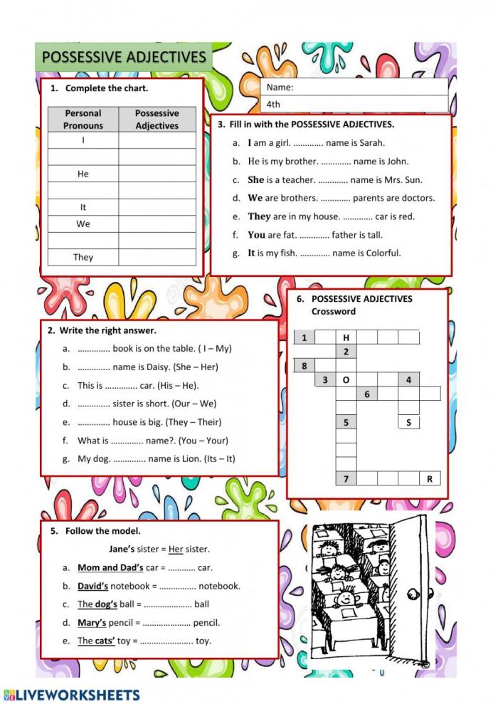 Possessive Adjectives Worksheet For Grade