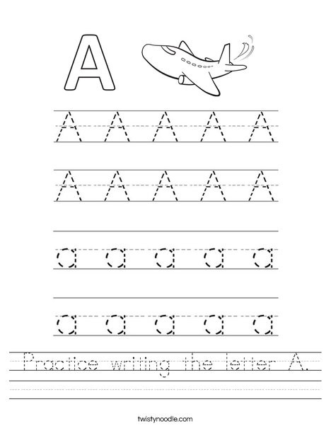 Practice Writing The Letter A Worksheet