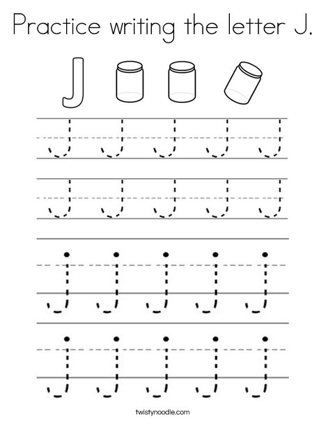 Practice Writing The Letter J Coloring Page