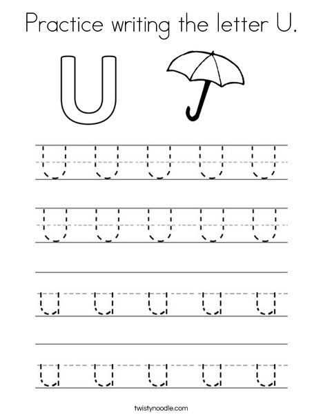 Practice Writing The Letter U Coloring Page