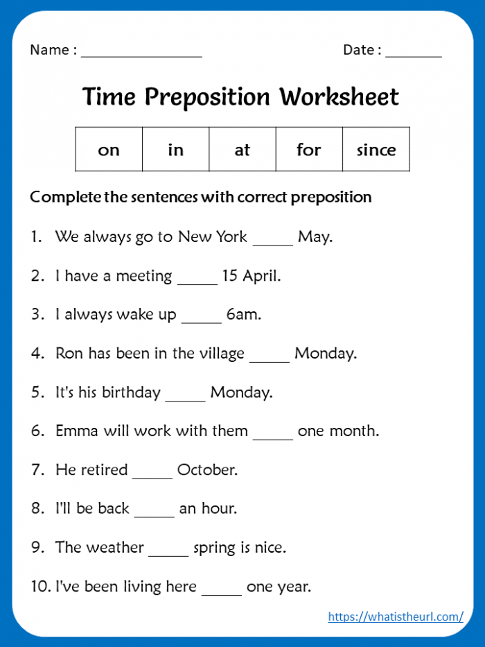 Preposition Worksheets For Grade With Answers