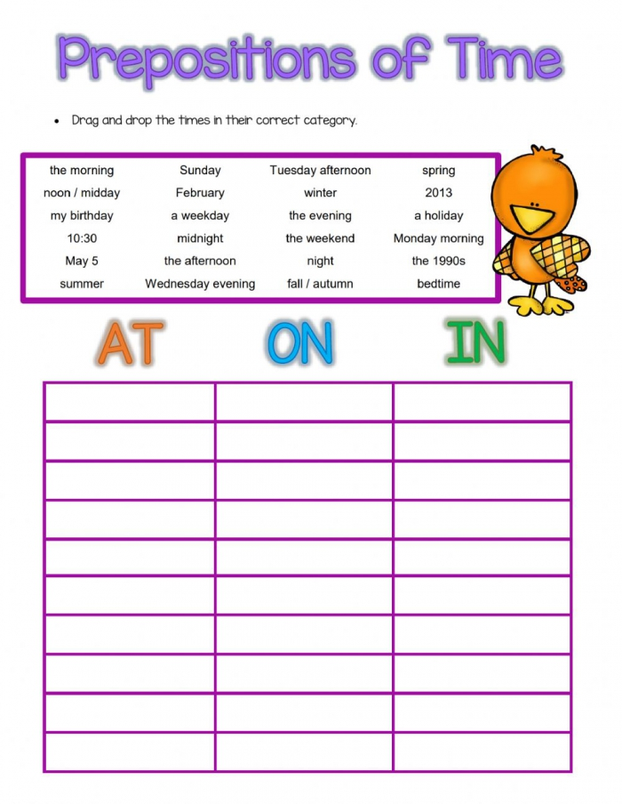 Prepositions Of Time At