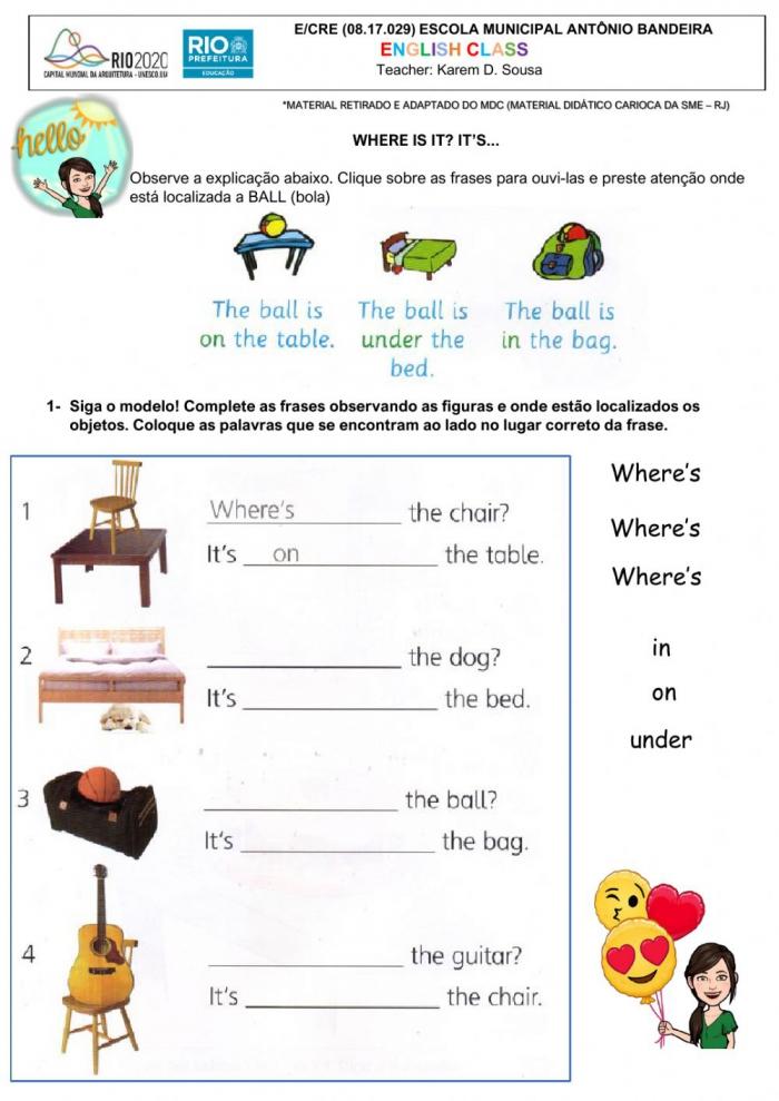 Prepositions Online Exercise For Grade