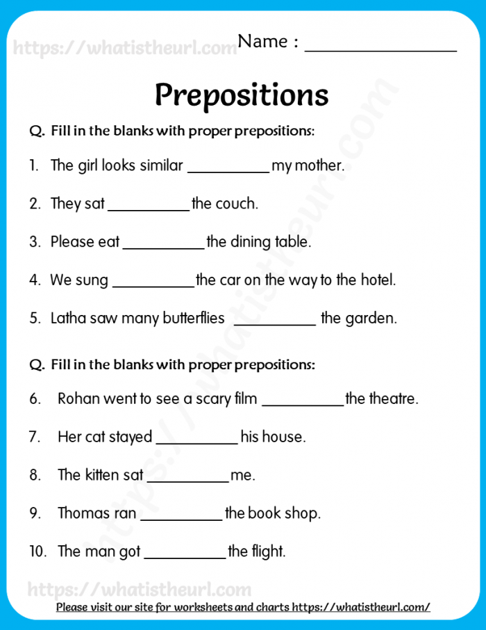 Prepositions Worksheets For Grade