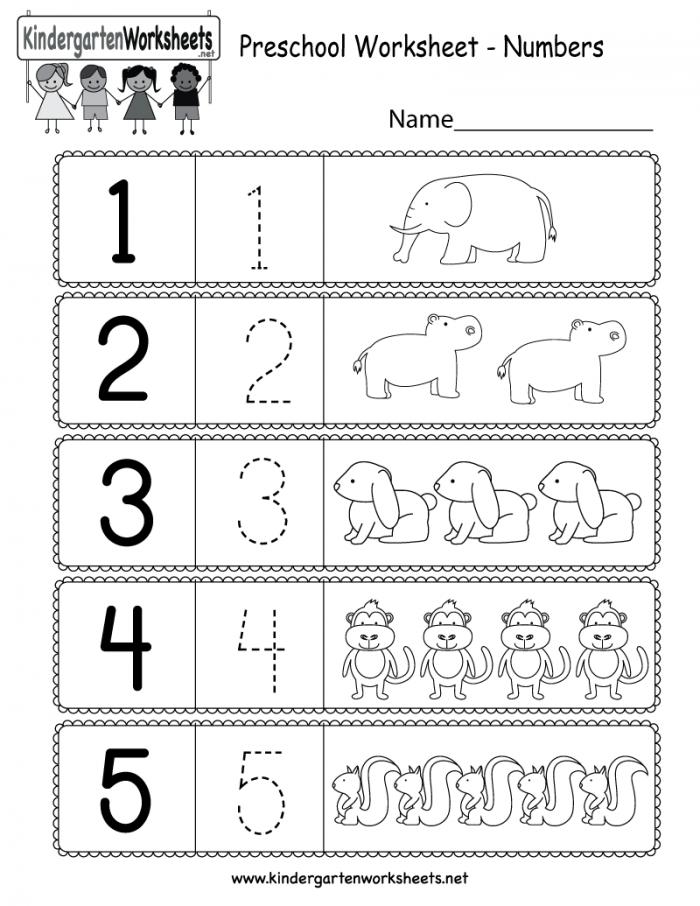Preschool Worksheet Using Numbers
