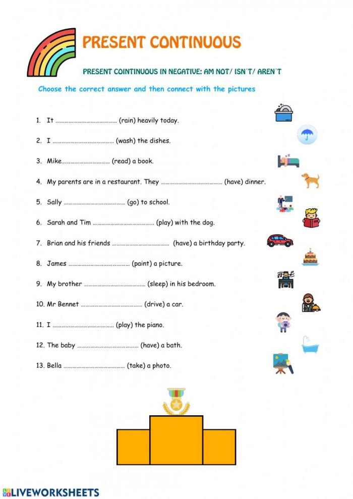 Present Continuous Negative Worksheet