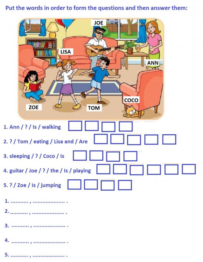 Present Continuous Questions Activity