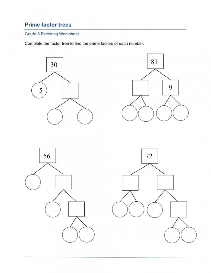 Prime Factorization Worksheet