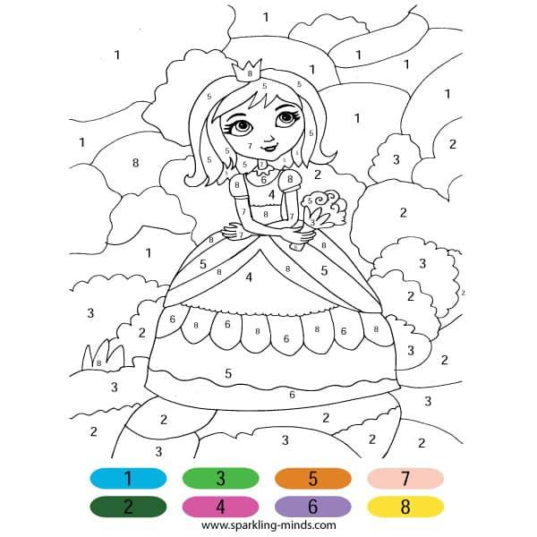 Princess Color By Number Math Coloring Worksheet