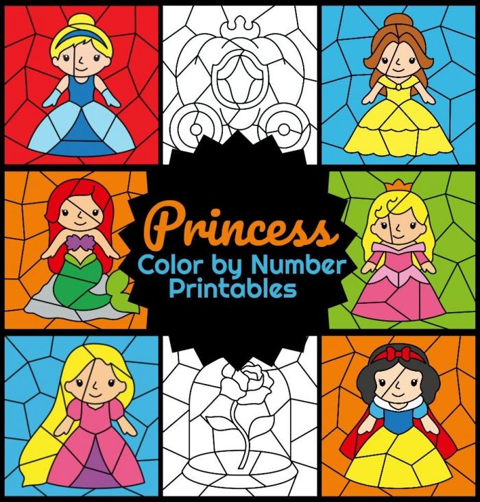 Princess Color By Number Worksheets