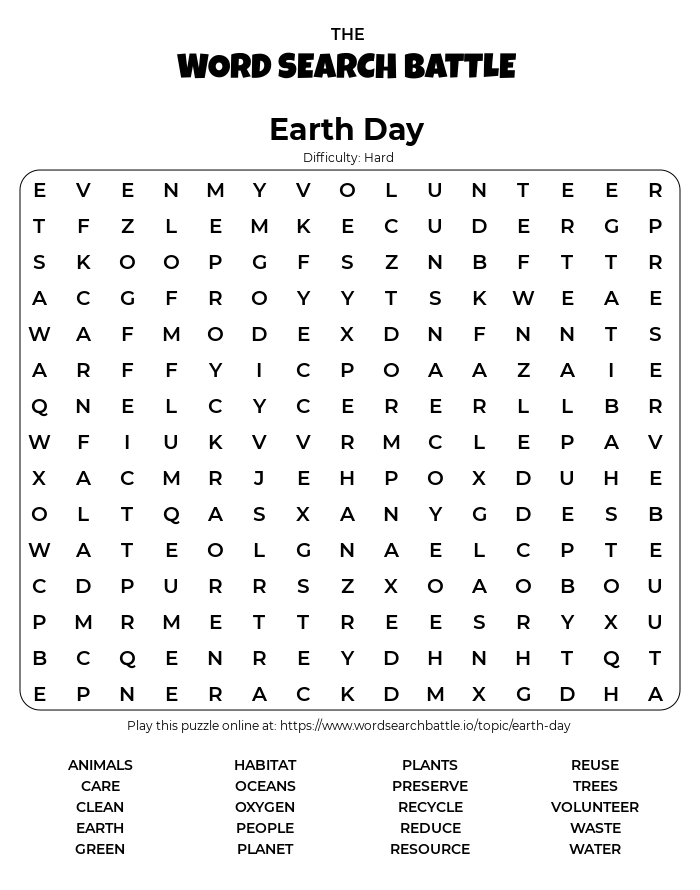Printable Earth Day Word Search