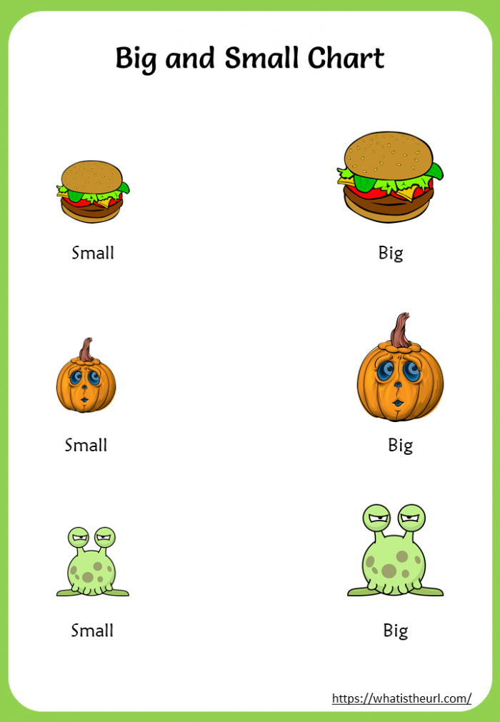 Printable Finding Big And Small Objects Charts And Worksheets