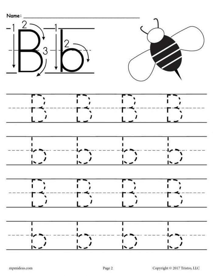 Printable Letter B Tracing Worksheet Supplyme