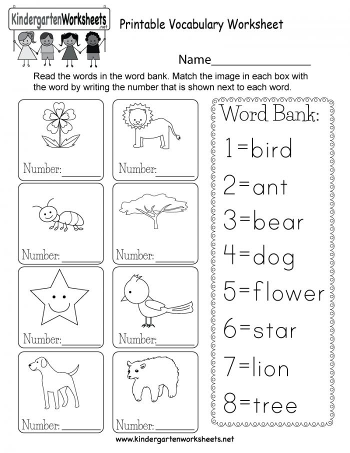 Printable Vocabulary Worksheet