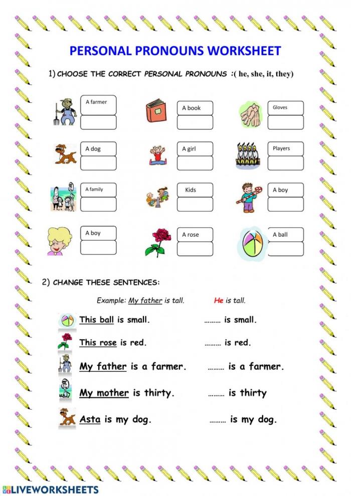 Pronouns Online Worksheet For Grade