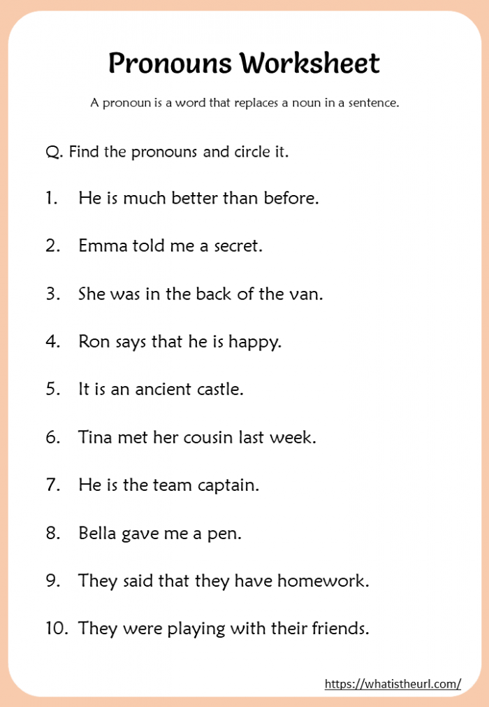 Pronouns Worksheets For Nd Grade