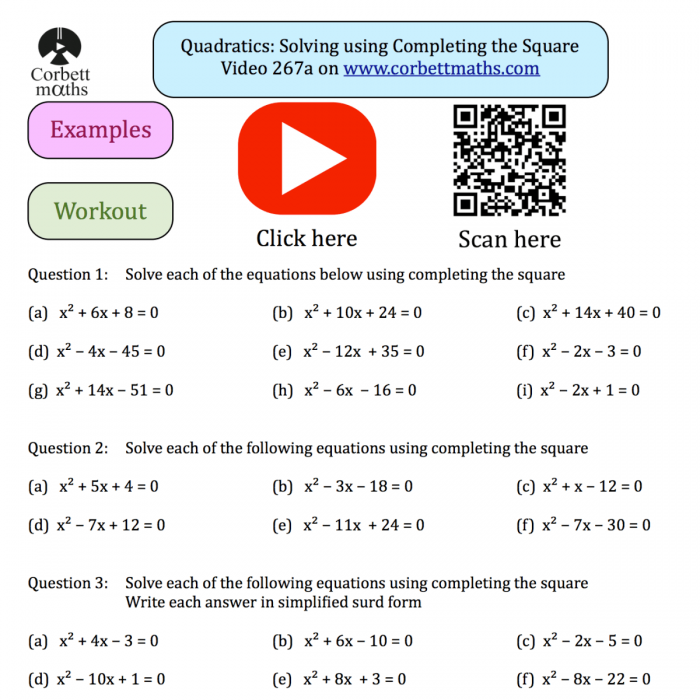 Quadratics Solving Using Completing The Square Textbook Exercise