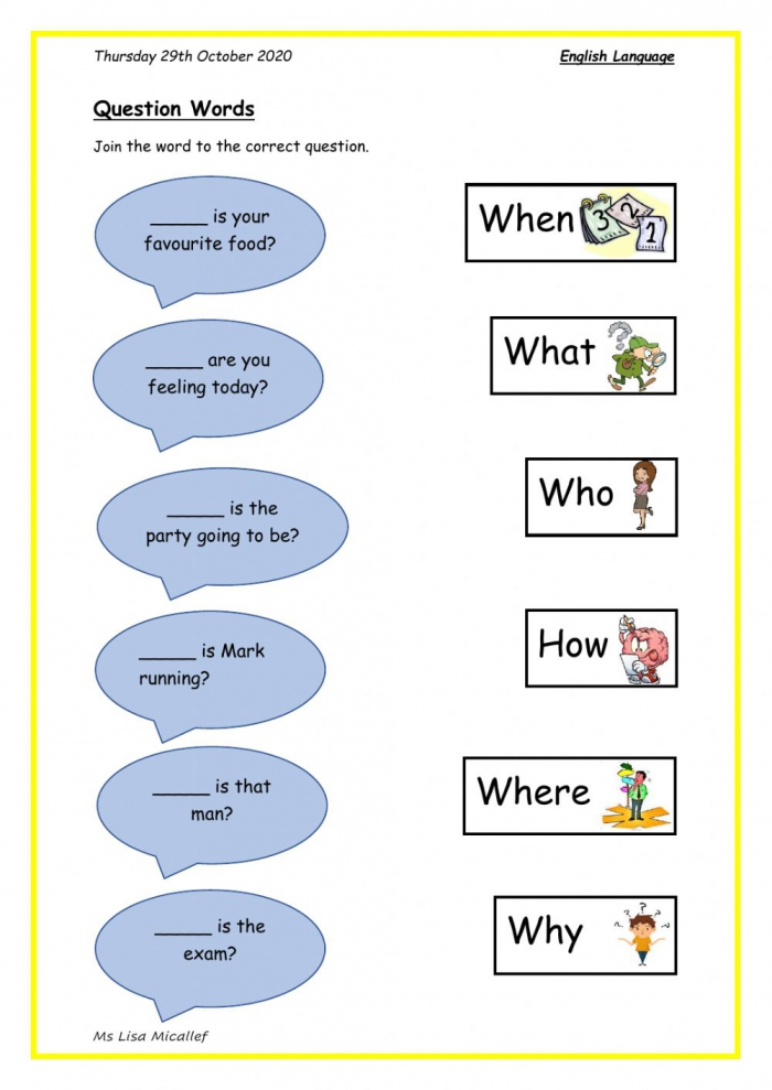 Question Words Interactive Activity For Grade